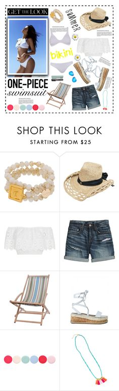 """""""Get the Look: Swimsuit Edition...."""" by cindy88 ❤ liked on Polyvore featuring Kendall + Kylie, Miguelina, Canvas by Lands' End, Garden Trading, Nails Inc., Too Faced Cosmetics, Ray-Ban, GetTheLook and Swimsuits"""