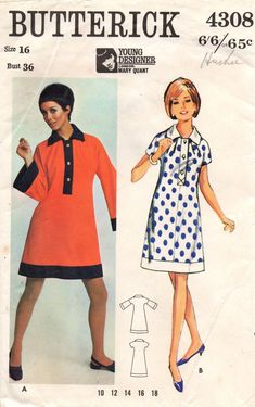 dedb0a8835a0 Butterick 4308 MARY QUANT Womens Shift Dress Contrast Tab Collar Flared  Sleeves 60s Vintage Sewing Pattern