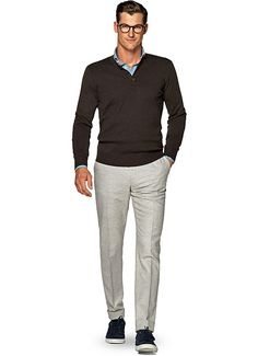 Brązowy Sweter Sw673 | Suitsupply Online Store
