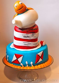 Dr Seuss Cat In The Hat Cake from a Children's Book Themed Baby Shower