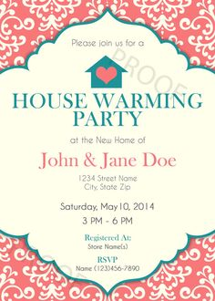 Printable Invitation  House Warming Party Invitation  by FlairFour, $14.00