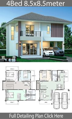 House design plan with 4 bedrooms – Home Design with Plan Haus Design Plan mit 4 Schlafzimmern – Home Design with Plan 2 Storey House Design, Duplex House Plans, Simple House Design, Bungalow House Design, House Front Design, Dream House Plans, Small House Plans, Modern House Design, House Layout Plans