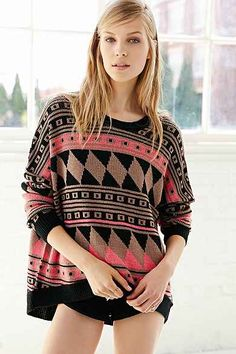 BDG Patterned Intarsia Sweater - Urban Outfitters