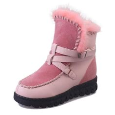 Winter Round Toe Lace Up Keep Warm Flats Snow Boots - Banggood Mobile