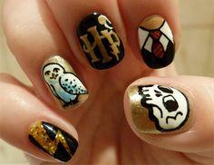 Intricate Harry Potter Nail Art
