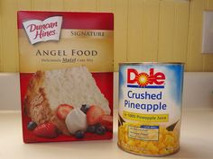 Pineapple Angel Food Cake 1 package angel food cake mix – the one with a single bag of mix,The one with two bags WILL NOT WORK. 1 can crushed pineapple — 20 Ounce Can Instructions Combine angel food cake mix and (undrained) crushed pineapple in large bowl. Mix by hand ok. Bake according to instructions on the back of the box.