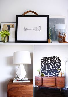 This is a good example of marrying vibrant textile accents with black/white pattern and the medium brown koa wood