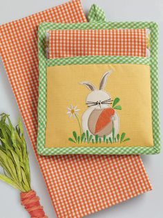 Wholesale easter bunny embroidered placemat shops design and garden bunny potholder gift set spring and easter gifts and home decor shop wholesale negle Images
