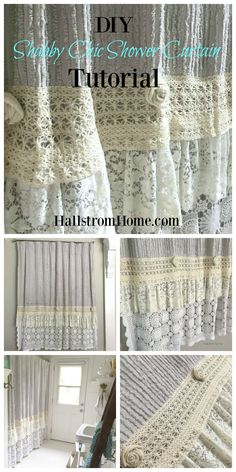 diy shabby chic shower curtain tutorial Hallstrom Home