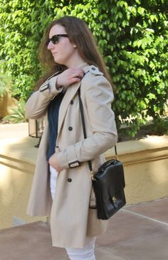 Fall Outfit, Trench Coat, White Jeans, Black Coach Satchel, Black Satchel