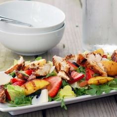 Grilled peaches, fresh strawberries and blueberries, raw almonds, savory chicken on arugula.