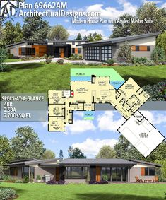 Architectural Designs Modern House Plan 69662AM gives you over 2,700 sq ft of heated living space with 4 beds and 2.5 baths . Ready when you are! Where do YOU want to build? #69662AM #adhouseplans #architecturaldesigns #houseplan #architecture #newhome #newconstruction #newhouse #homedesign #dreamhome #homeplan #architecture #architect #housegoals #house #home #design #modern #angled #contemporary