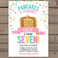 Pancakes and Pajamas Party Invitation by Anietillustration on Etsy