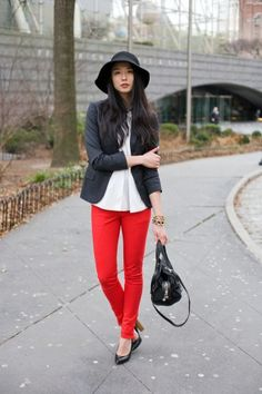 Model Lily Kwong in red-hot Rag & Bone jeans, photo by Sam Horine