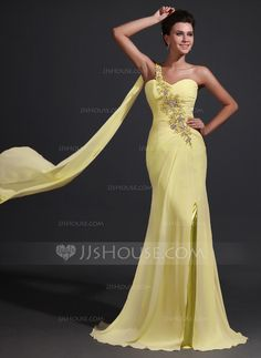 Trumpet/Mermaid One-Shoulder Sweep Train Chiffon Mother of the Bride Dress With Ruffle Lace Beading Split Front (008017368)