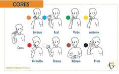Cores em libras, linguagem de sinais