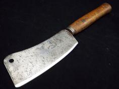 """antique SHARP 7"""" Carbon Steel blade Butcher Meat Cleaver Knife 14.5"""" lightweight"""