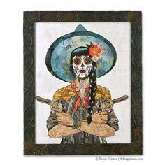 Vaquera Sudoeste - Dolan Geiman  Tags: dia de loa muertos  vintage western  western wear  cowgirl hat  Latin American Mexican American  Day of the Dead  Skeleton  equestrian  pistol  cowgirl print  sugar skull art  old west