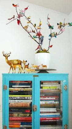 An drab cabinet is instantly updated with color.