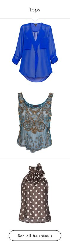 """""""tops"""" by estrellagalan ❤ liked on Polyvore featuring tops, blouses, shirts, blusas, blue ruffle blouse, see through blouse, blue shirt, sheer shirt, frilly shirt and tank tops"""