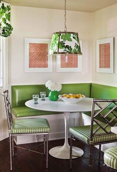 Dining Room: Green Theme Dining Nook With White Saarinen Tulip Dining Table And Green Leather Banquette Built In Seating Also Green Stainless Steel Chairs: Stylish Saarinen Tulip Table Design for Perfect Family Dinner Banquette Dining, Dining Nook, Dining Table, Corner Banquette, Dining Chairs, Round Dining, Dining Furniture, Corner Seating, Booth Seating