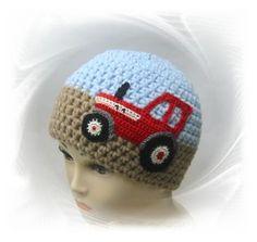 gehäkelte Mütze Traktor, Kindermütze, Schlepper,
