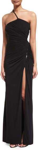 Versace One-Shoulder Ruched Jersey Gown, Black