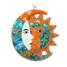 Ceramic eclipse, 'Village Harvest' by NOVICA