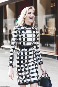 gridwork. Lena looking fab in Paris. #ElenaPerminova