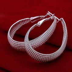 Hot 925Sterling Silver Elegant Matrix Grid Tear Drop Hoop Earrings US Ship #Unbranded #Hoop