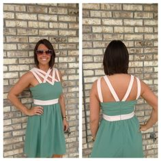 Teal 'All the Right Straps' Dress #green #strappy #white