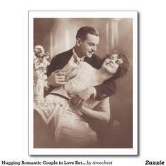Hugging Romantic Couple in Love Retro Postcard