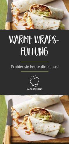 Dieses Rezept liefert dir die perfekte warme Wraps-Füllung. Mit Hähnchenbrust, Tomatenmark und Thymian ist dieses einfache Rezept für selber gemachte Wraps wirklich ein Hit. Probier es heute direkt aus! #wraps #burritos #snacks #fingerfood #picknick #mittagessen #daskochrezept #vollkorn #wrap