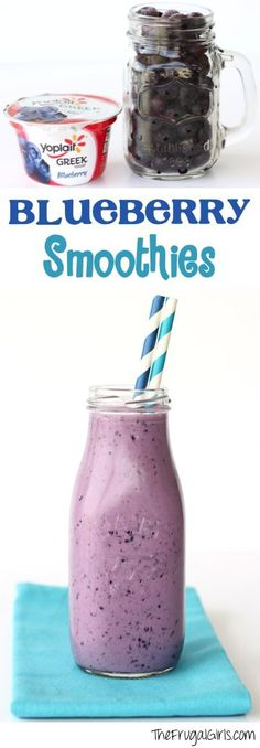 Blueberry Smoothie Recipe! {these easy Smoothies are such a healthy breakfast or snack, and SO delicious and refreshing! | Recipe at TheFrugalGirls.com