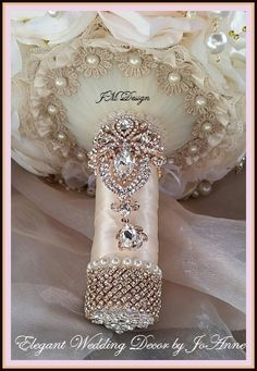 CUSTOM Made Blush Pink/Gold and Rose Gold Jeweled Bouquet - $525.00 Full Price - $525.00 - Deposit to place Order - $325.00 - Remaining
