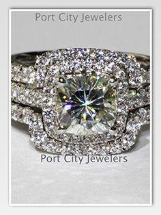 Amazon Com Cttw Ct Center Cushion Cut Nscd Simulated Diamond Wedding Set Engagement Ring