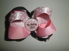 BIRTHDAY GIRL Pink & Black Bottle Cap Hair Bow Clip $5.00 *FREE SHIPPING*