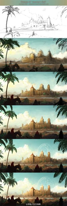 Digital Painting Process by Remy (Industrial Forest) — Coloring tutorials Digital Painting Tutorials, Digital Art Tutorial, Art Tutorials, Painting Process, Process Art, Fantasy Landscape, Landscape Art, Photoshop, Environment Design