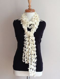 Lovely Cream Long SCarf by allapples on Etsy, $45.00