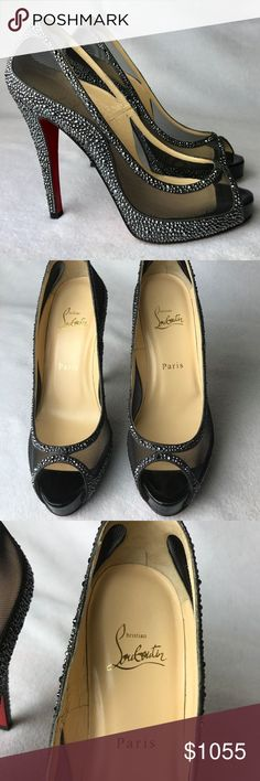 """Louboutin Camilla 120mm Strass Heels Euro 38 Never worn. Come with 2 original dust bags only, NO box and no extra taps. No receipt is kept.  Some small dents on the bottoms cause the shoes were tried on. Heel is 4.72"""" Insole is 9.61"""" Platform is 0.6""""  Please note, that European designer shoes typically run smaller then US designers.  You should know your size in the particular designer's shoes before making a purchase. Christian Louboutin Shoes Heels"""