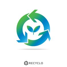 Circle Recycle With Growth Leaf Logo Concept Logo Template Vector and PNG Green Arrow Logo, Leaf Vector, Conservation, Ecology Design, Free Logo Templates, Frame Border Design, Recycle Symbol, Leaf Logo, Leaf Background
