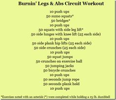 Burnin' Legs & Abs Circuit Workout (in addition to incline walk)