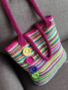 Free pattern and tutorial by Crafternoon Treats - the rainbow crochet tote  bag with Stylecraft Limited Edition colours ༺✿ƬⱤღ✿༻