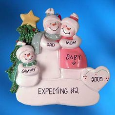 Personalized Pregnant Snow Couple Christmas Ornament with 1 Child image