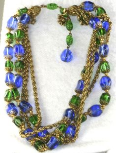 VINTAGE GORGEOUS MIRIAM HASKELL BLUE GREEN GLASS ROPE NECKLACE #MIRIAMHASKELL