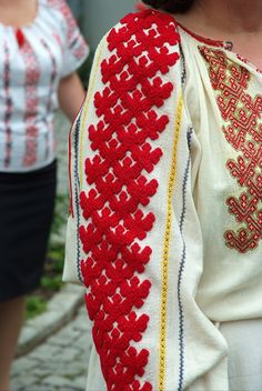 Detail of vintage traditional Romanian blouse (IIE) Folk Costume, Costumes, Folk Clothing, Folk Art, Creations, Cross Stitch, Textiles, One Piece, Mens Fashion