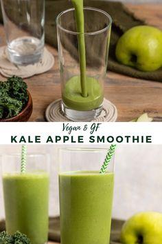 Kale Apple Smoothie, Frozen Strawberry Smoothie, Green Breakfast Smoothie, Healthy Breakfast Smoothies, Vegan Smoothies, Vegan Breakfast Recipes, Fruit Smoothies, Smoothie Recipes, Breakfast Ideas