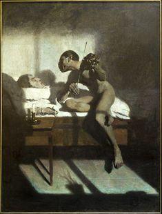 """Edward Okuń """"Śmierć Paganiniego"""", 1898, płótno, technika olejna, 184 x 134 cm, wł. Muzeum Lubelskie w Lublinie"""