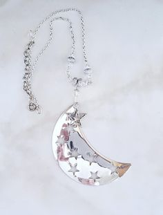 Large Crescent Moon Pendant, Star Moon Pendant, Floating Star Pendant, Sterling Silver Chain, Statement Necklace, Symbolic Necklace by AlsJewelryDesigns on Etsy