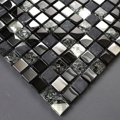 Kitchen Backsplash Tile Design Stone Blend Brushed Stainless Steel Ice Crack Crystal Glass Mosaic Art Bathroom Wall Stickers KQYSST003-5